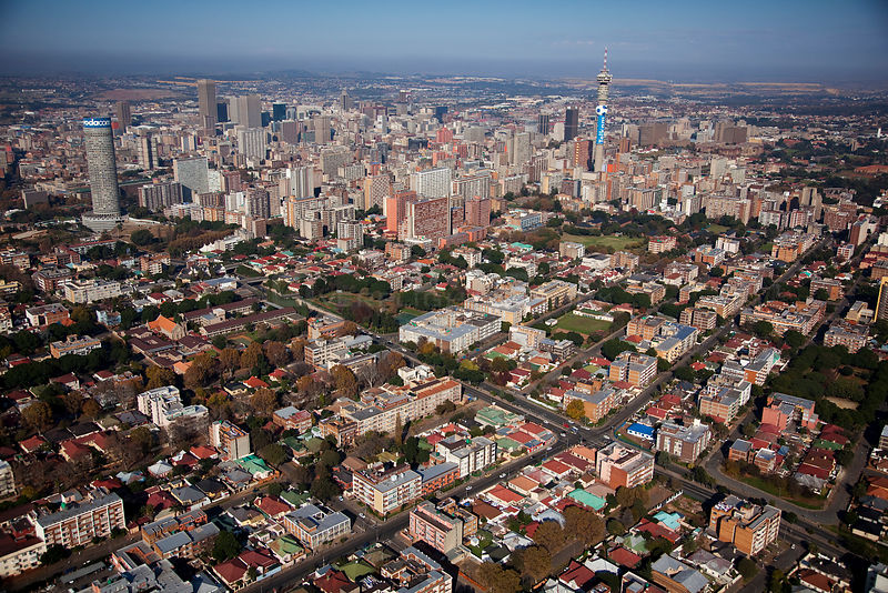 Aerial photo of Johannesburg, South Africa .January 2010