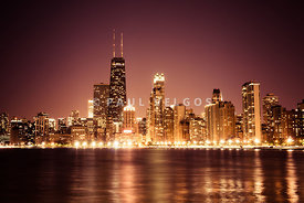 Downtown Skyline at Night of Chicago