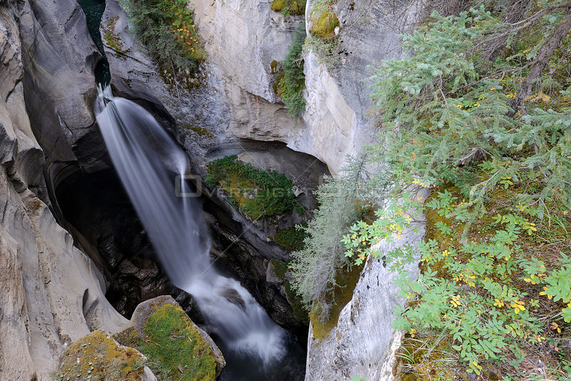 View in to Maligne canyon from the top, Jasper National Park, Rocky Mountains, Alberta, Canada, September 2009