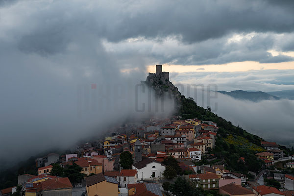 Elevated View of the Fortress Town of Burgos with Incoming Fog at Dawn