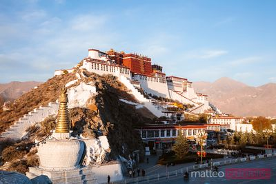 Sunset over Potala palace, Lhasa, Tibet, China