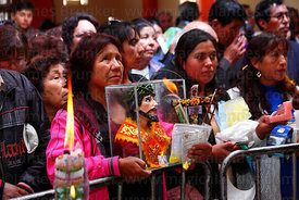 Congregation during mass for Alasitas festival, Puno, Peru