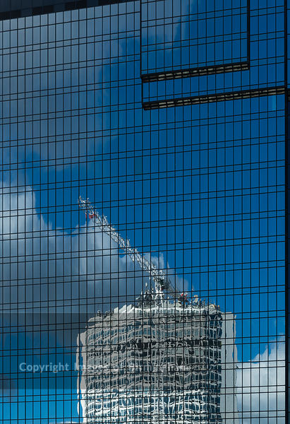 Alpha Tower reflected in the Hyatt hotel, Broad Street, Birmingham