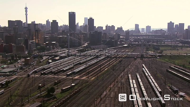 Aerial shot of the rail roads in the city of Johannesburg Johannesburg Gauteng South Africa