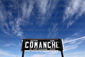 Railway station sign, Comanche, La Paz Department, Bolivia