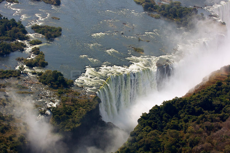 Aerial view of Victoria Falls Waterfall, Zambezi River at the border of Zimbabwe and Zambia, Mosi-oa-Tunya / Victoria Falls U...