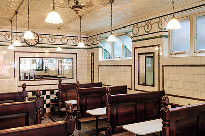 UK - London - Interior of Manze's Eel, Pie and Mash shop in Walthamstow