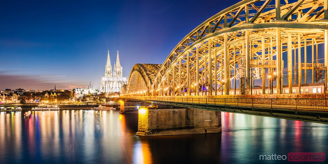 Panoramic of Bridge and cathedral at night, Cologne