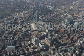Manchester high level view of  the city centre of Manchester showing St Peters Square the Town Hall Central Library and Manch...