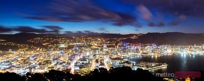 Panoramic of Wellington city illuminated at night, New Zealand