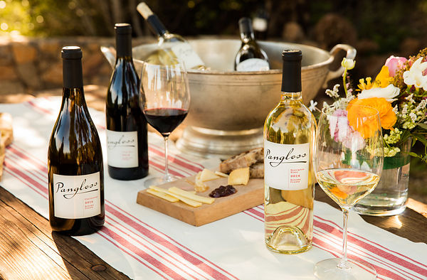 Styled spring themed wine lifestyle photography shot on-location for Pangloss Cellars in Sonoma Valley, California