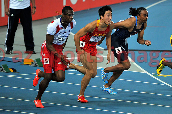 110 m Hurdles..3 Aries Merritt USA,..4 Xiang Liu CHN, 5 Dayron Robles CUB, at the 2011 IAAF World Championships,Athletics,Dae...