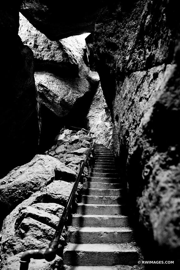 BEAR GULCH CAVE TRAIL PINNACLES NATIONAL PARK CALIFORNIA BLACK AND WHITE