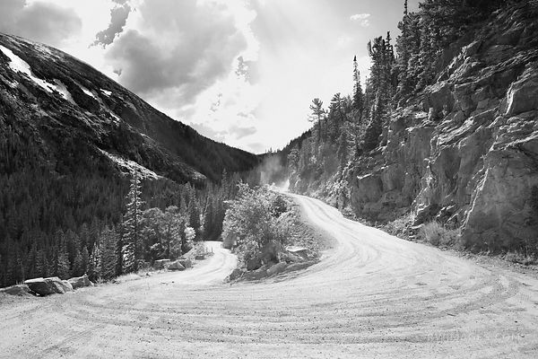 OLD FALL RIVER ROAD ROCKY MOUNTAIN NATIONAL PARK COLORADO BLACK AND WHITE