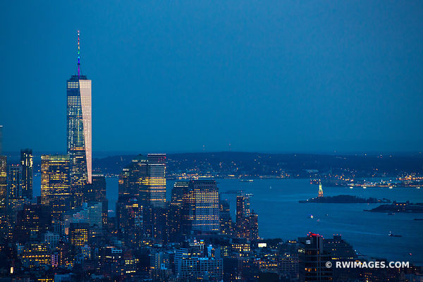 FREEDOM TOWER MAHATTAN SKYLINE NEW YORK CITY EVENING BLUE HOUR