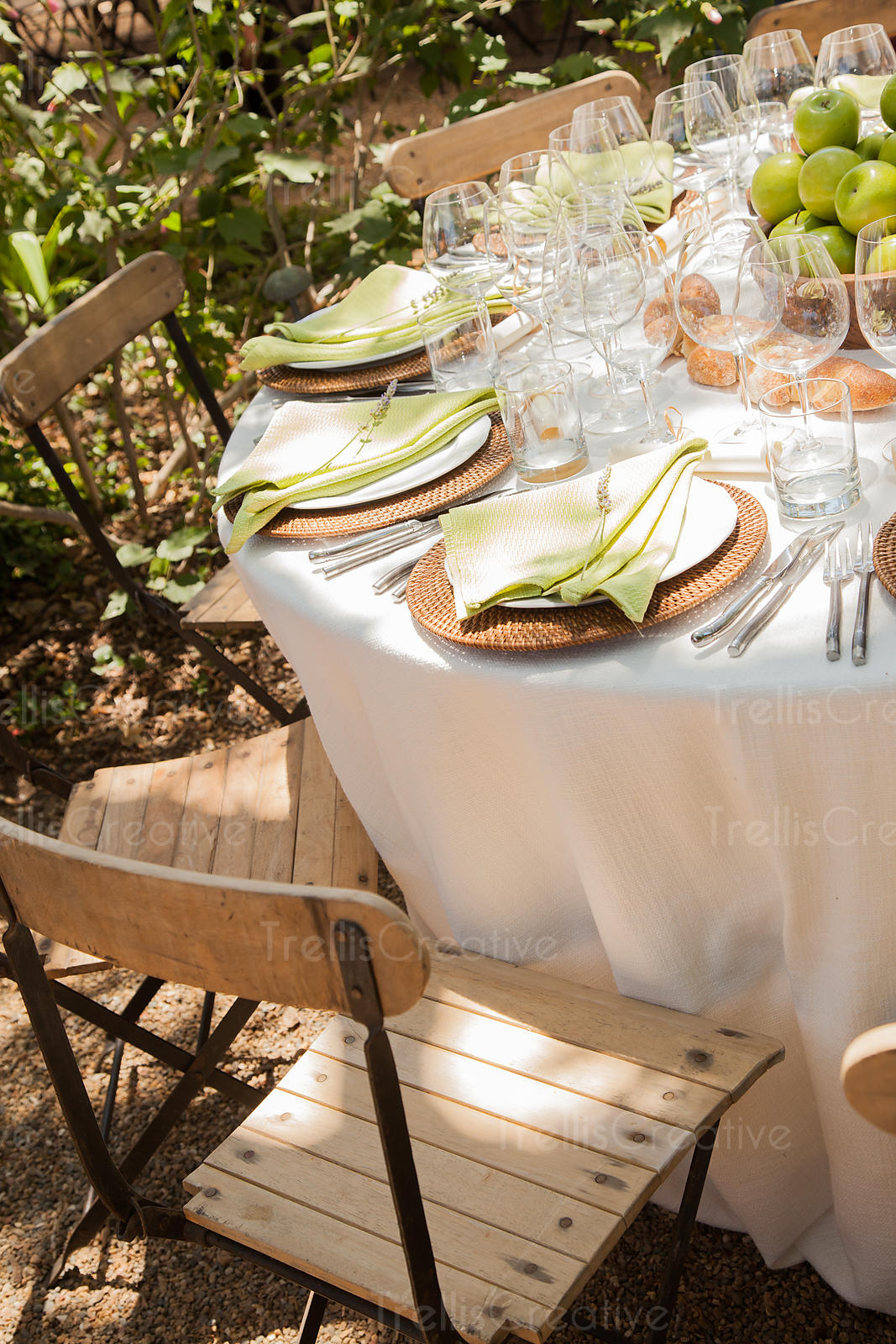 Rustic themed table setting at outdoor dinner