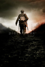 An atmospheric image of a British soldier in WW1.