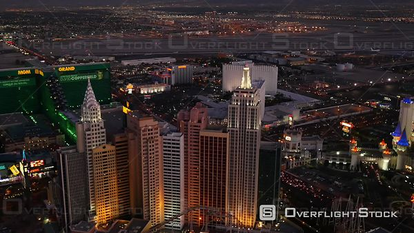 Las Vegas, Nevada, USA  Aerial Footage of Las Vegas Strip at Dusk