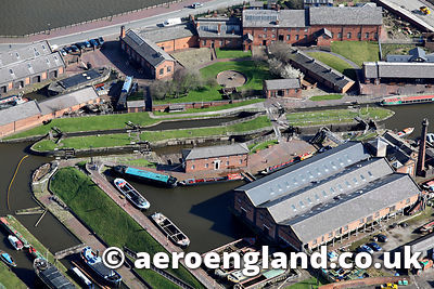 aerial photograph of  the National Waterways Museum, Ellesmere Port Cheshire England UK
