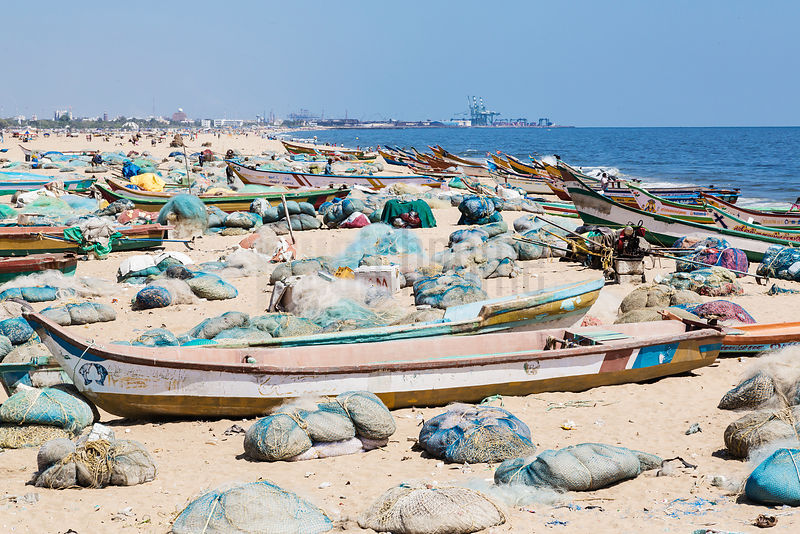 Fishing Boats and Nets Lined up on the Beach