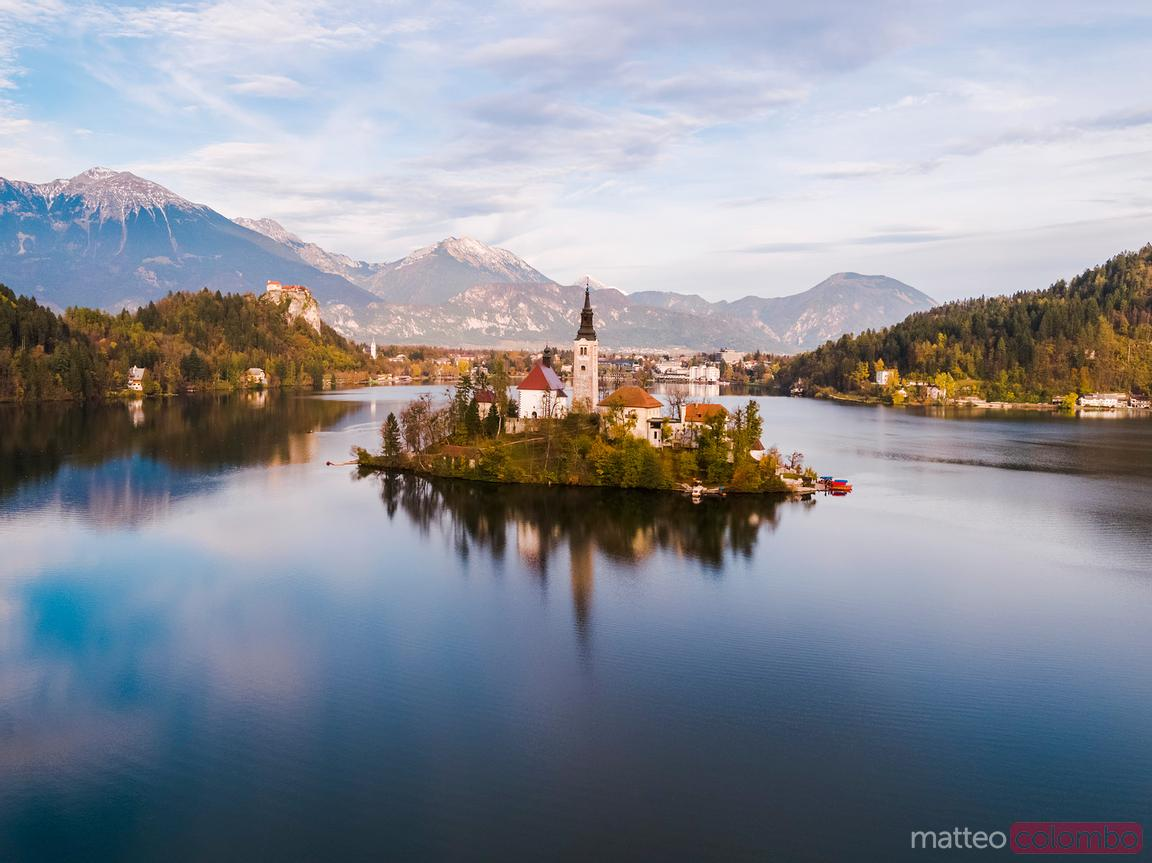 Drone view of Bled lake and island in autumn, Slovenia
