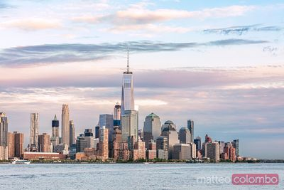 Manhattan skyline from New Jersey at sunset, New York