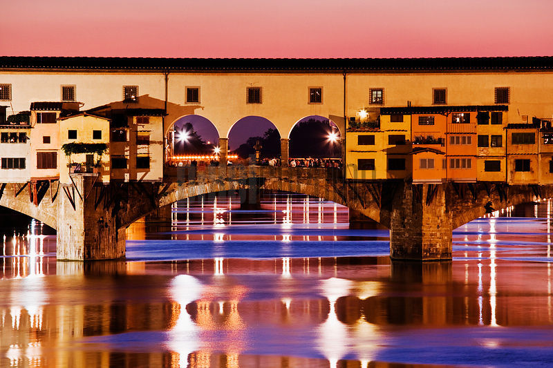 River Arno and the Ponte Vecchio at Dusk, Florence, Italy