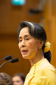 Aung San Suu Kyi of Myanmar adresses a European Parliamentary Forum conference on Migration and Gender Equality at the Chambe...