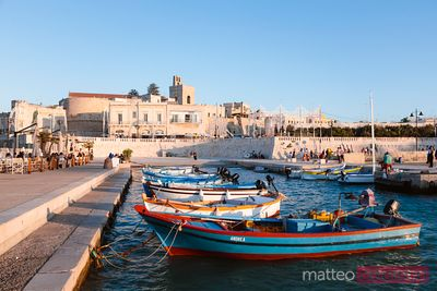 Fishing boats at sunset, Otranto, Salento, Apulia, Italy