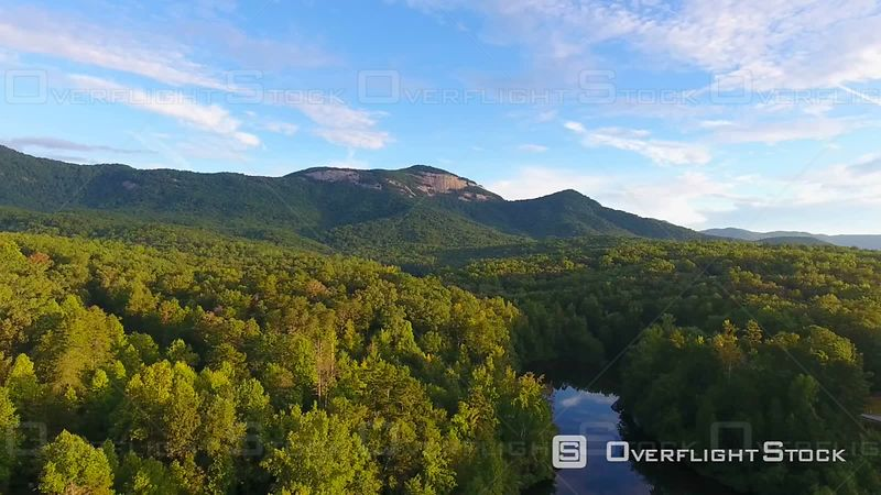 4k Aerial of Table Rock State Park in South Carolina at Sunrise