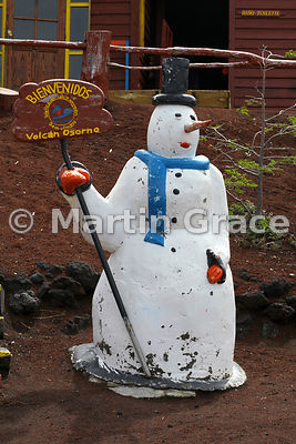 Welcomg snowman outside cafe on Volcan Osorno, Parque Nacional Vicente Perez Rosales, Los lagos, Chile