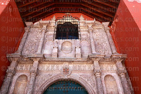 La Merced church entrance facade, Potosí, Bolivia