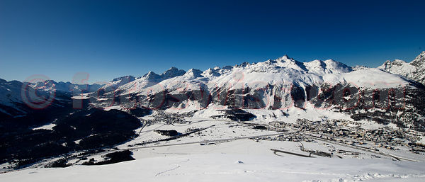 View of the Engadin Valley from Muottas Muragl Mountain towards Italy.