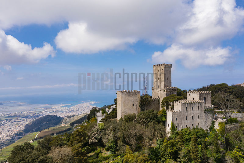 Elevated View of the Castle of Erice with Trapani in the Background