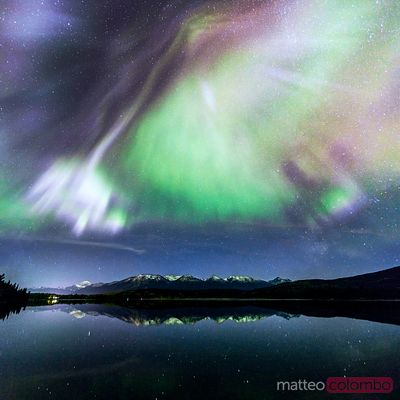 Northern lights and Rocky mountains, Canada