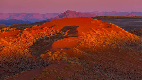 Aerial view of sun set over mountain in Namib-Naukluft National Park, Namibia
