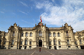 Government palace entrance facade, Plaza de Armas, Lima, Peru