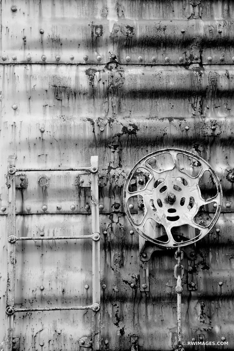 RUSTY OLD TRAIN FREIGHT CAR WALL RANDOLPH VERMONT BLACK AND WHITE