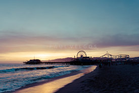 Santa Monica Pier Beach Sunset Retro Photo