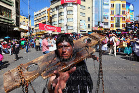 Man dressed as African slave in Negritos / Tundiqui dance group, Gran Poder festival, La Paz, Bolivia