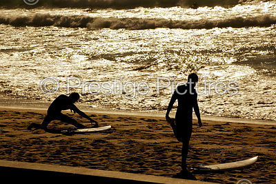 Surfers Limber up on Manly Beach