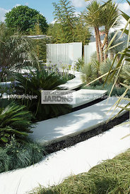 Jardin contemporain, Style tropical, Dallage, Structure en résine (Corian de DuPont), Paysagiste Philip Nash. CFS