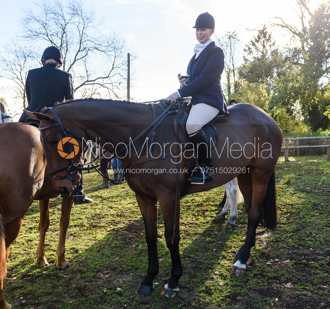 Agnes Linnea at the meet. The Cottesmore Hunt at Tilton
