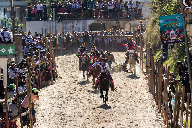 Rider Falls during Day of the Dead Horse Race at Todos Santos Cuchumatanes