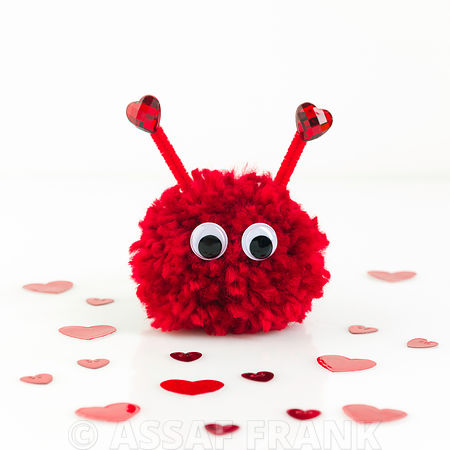 Cute valentine Pom pom on white background