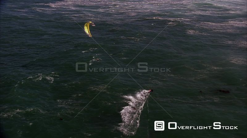 Aerial shot of a kite surfer riding on the seas. Eastern Cape South Africa