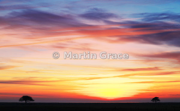 Winter sunset sky over Morecambe Bay, Lancashire, north-west England