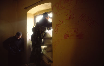 Croat sniper unit in a ruined house, Sunja, Croatia