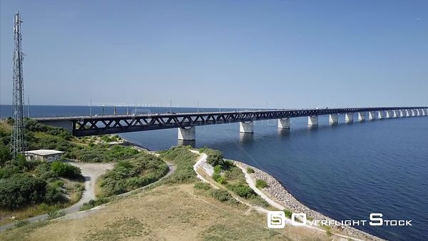 Drone flying over the oresund bridge and Oresund Strait Sweden