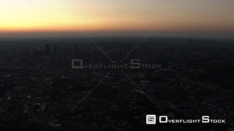 Aerial shot of the citiscape of Johannesburg Johannesburg Gauteng South Africa